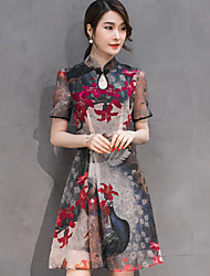 abordables -Mujer Línea A Vestido Noche Bonito,Floral Escote Chino Hasta la Rodilla Manga Corta Negro Rayón Otoño Tiro Medio Microelástico Medio