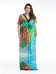 SWEET CURVE Women's Plus Size Boho Swing Dress,Print Deep V Maxi Short Sleeve Green Spandex Spring Summer Mid Rise Micro-elastic Medium