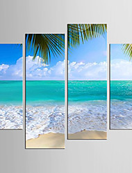 cheap -Landscape Floral/Botanical Modern Realism, Four Panels Canvas Any Shape Print Wall Decor Home Decoration
