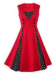 cheap -Women's Plus Size Vintage Cotton A Line Dress - Polka Dot Red High Rise Square Neck