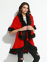 abordables -Mujer Regular Capa / Capes Fiesta Formal Vintage Sofisticado,Un Color Solapa Redonda Piel Sintética Poliéster Licra Invierno Grueso