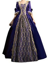 Victorian Rococo Women's One Piece Dress Ink Blue Cosplay Lace Cotton Long Sleeves Bell Floor Length
