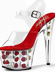 Feminino-Sandálias-Conforto Inovador Sapatos clube-Salto Agulha-Branco Fúcsia Vermelho Rosa claro-PVC-Casamento Ar-Livre Social Casual
