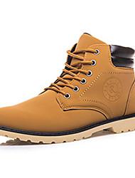 cheap -Men's Boots Winter Comfort PU Casual Flat Heel Lace-up Black / Blue / Yellow Sneaker