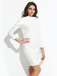 baratos -Mulheres Para Noite Feriado Moda de Rua Tubinho Solto Vestido Sólido Altura dos Joelhos Acima do Joelho