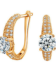 Hoop Earrings AAA Cubic Zirconia Zircon Cubic Zirconia Gold Plated 18K gold Gold Silver Jewelry Wedding Party Engagement Daily 1 pair