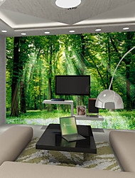 JAMMORY Art DecoWallpaper For Home Wall Covering Canvas Adhesive required Mural Green Tree Forest XL XXL XXXL