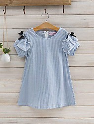 cheap -Girl's Daily Striped Dress Summer Short Sleeves Stripes Ruffle Pink Light Blue