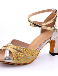 "cheap -Latin Sparkling Glitter Heel Indoor Low Heel Gold Silver Red Blue 1"" - 1 3/4"" Customizable"