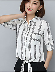 cheap -Women's Simple Blouse - Striped Shirt Collar / Spring