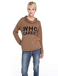 Women's Casual/Daily Simple / Street chic Fashion Loose Regular Hoodies,Letter Hooded Long Sleeve