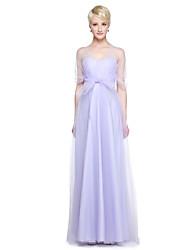 abordables -Corte en A Escote en Pico Hasta el Suelo Tul Vestido de Dama de Honor con Volantes Recogido Lateral por LAN TING BRIDE®