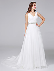 A-Line V-neck Court Train Tulle Wedding Dress with Beading Criss-Cross by LAN TING BRIDE®