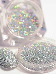 cheap -2g/Box Holographic Silver Laser Nail Glitter Powder Gorgeous Shiny Dust Powder Manicure Nail Art Glitter Decoration