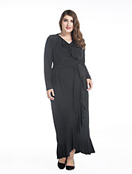 SWEET CURVE Women's Plus Size Boho Swing Dress,Solid Print V Neck Maxi Long Sleeve Black Cotton Linen Spring Summer High Rise Micro-elastic Medium