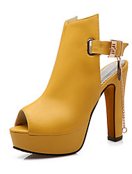 cheap -Women's Shoes PU Spring Summer Sandals Chunky Heel Peep Toe Buckle Chain for Party & Evening White Black Yellow