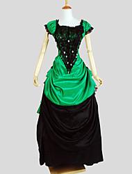 Victorien Costume Femme Tenue Vintage Cosplay Charmeuse Manches Courtes Mancheron Asymétrique