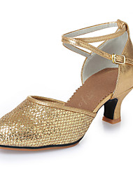 Women's Dance Shoes Modern shoes Leatherette Sequins Latin Heels Chunky Heel Indoor Gold Silver 5.5CM Rubber soles M275 M285
