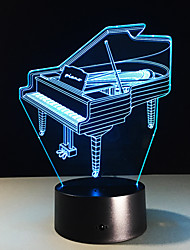 cheap -1PC  Piano Colorful Vision Stereo Led Lamp 3D Lamp Light Colorful Gradient Acrylic Lamp Night Light Vision