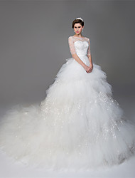 Ball Gown Illusion Neckline Cathedral Train Tulle Wedding Dress with Beading Sequin by DRRS
