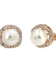 economico -Orecchini a bottone Perle finte Zirconi Perla Placcato in oro Di tendenza Oro Argento Grigio Gioielli Feste Quotidiano 1 paio