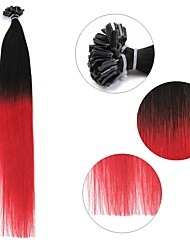 cheap -Neitsi 20'' 50g/lot 1g/s Ombre Pre bonded Nail U Tip Fusion  Human Hair Extensions 100% Remy T1-Red#