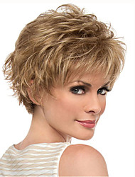cheap -Gold Blonde Short Curly wig for Women Natural Synthetic Wigs