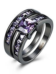 Prsten Kubický zirkon Zirkon Měď Titanová ocel Volframová ocel imitace Diamond Fialová Šperky Denní Ležérní 1ks