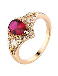 cheap -Women's Ring AAA Cubic Zirconia Synthetic Emerald Luxury Zircon Cubic Zirconia Gold Plated Jewelry For Casual