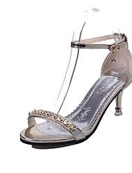 cheap -Women's Sandals Comfort PU Summer Casual Walking Comfort Buckle Stiletto Heel Gold Silver Blushing Pink 2in-2 3/4in