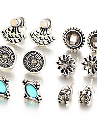 cheap -6pcs/set Europe Crystal Stud Earrings Flower Shell Oval Square Shining Earrings