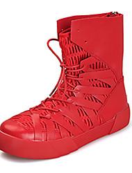 preiswerte -Herrn Schuhe PU Frühling Herbst Modische Stiefel Komfort Stiefel Schnürsenkel für Normal Schwarz Schwarz und Gold Rot