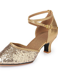 Women's Dance Shoes Modern shoes Leatherette Sequins Latin Heels Chunky Heel Indoor Gold 5.5CM Rubber soles M225