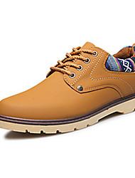 baratos -Homens Couro Ecológico Primavera / Outono Conforto / botas de desleixo Oxfords Caminhada Vestível Preto / Azul Marinho / Amarelo Terra