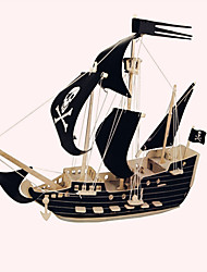 Jigsaw Puzzles Wooden Puzzles Building Blocks DIY Toys Black Sail Pirate Ship 1 Wood Ivory Model & Building Toy