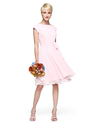 cheap -A-Line Princess Jewel Neck Knee Length Chiffon Bridesmaid Dress with Bow(s) Buttons Sash / Ribbon Ruching by LAN TING BRIDE®