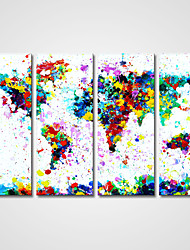 Unframed Colorful Pop Art Abstract Map Modern Giclee Print Art for  Wall Decoration (20x50cmx4pcs)