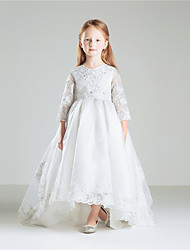 Princess Floor Length Flower Girl Dress - Cotton 3/4 Length Sleeves Jewel Neck by Anbaby
