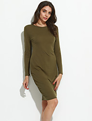 Women's Casual/Daily Sexy Sheath Dress,Solid Round Neck Knee-length Long Sleeve Black / Gray / Green Spandex Fall / Winter Mid Rise