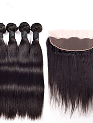 4pcs/lot Ear to Ear Lace Frontal Closure With Bundles Peruvian Weft With Frontal Straight Hair With Frontal 13x4