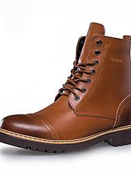 abordables -Homme Chaussures Polyuréthane Automne Hiver boîtes de Combat Confort Bottes Noir Brun claire Brun Foncé
