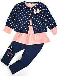 Girls Fashion Dot bow coat Love t-shirts Leggings  Three-Piece Outfit