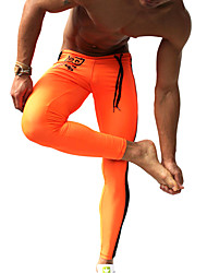 cheap -Men's Running Tights / Gym Leggings - Orange, Green Sports Fashion Compression Clothing Fitness, Gym, Workout Activewear Quick Dry, Moisture Permeability, High Breathability (>15,001g) Stretchy