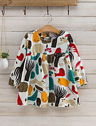 cheap -Girls' Daily Blouse Spring Fall Long Sleeves Cartoon Beige Navy Blue