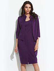 Dámské Vintage / Sofistikované Běžné/Denní / Velké velikosti Bodycon Šaty Jednobarevné,Tříčtvrteční rukáv Kulatý Délka ke kolenům Fialová