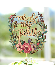 Cake Topper Garden Theme Floral Theme Vintage Theme Classic Couple Card Paper Wedding Anniversary Bridal Shower With Poly Bag
