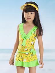 Girl Ruffle Floral Patchwork Swimwear,Spandex