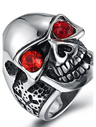 cheap -Men's AAA Cubic Zirconia Statement Ring Ring - Zircon, Titanium Steel Fashion 7 / 8 / 9 / 10 / 11 Black / Red / Blue For Halloween Daily Casual