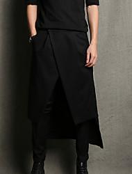 abordables -Hombre Vintage Casual Tiro Medio Microelástico Corte Ancho Chinos Pantalones, Un Color Algodón Verano Otoño Todas las Temporadas