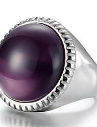 cheap -Men's Women's Ring Statement Ring Black Purple Blue Crystal Titanium Steel Fashion Daily Casual Costume Jewelry